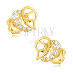 Briliantové náušnice, 14K zlato - nepravidelná kontura srdce s diamanty a výřezy