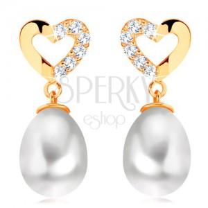 Diamantové náušnice ze žlutého 14K zlata - kontura srdce s brilianty, oválná perla