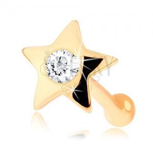 Rovný piercing do nosu ze žlutého 14K zlata - malá lesklá hvězdička s diamantem