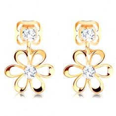 Diamantové náušnice ve žlutém 14K zlatě - kvítek s oblými lupínky, čiré brilianty