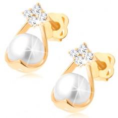 Zlaté briliantové náušnice 585 - čtyři diamanty, kontura kapky s bílou perlou BT503.46