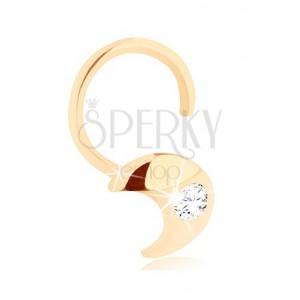 Diamantový zlatý piercing do nosu 585 - zahnutý, srpek měsíce s briliantem