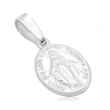 Přívěsek ze stříbra 925 - oválný medailon s Pannou Marií