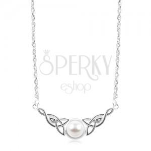 Stříbrný náhrdelník 925, bílá polokoule, keltské uzly po stranách