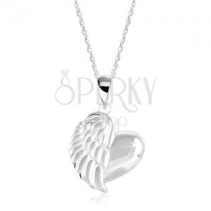 Stříbrný náhrdelník 925, lesklé srdce s andělským křídlem, zatočený řetízek