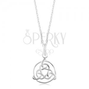 Náhrdelník ze stříbra 925, lesklý řetízek, keltský symbol v obrysu kruhu