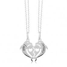 Náhrdelníky ze stříbra 925 - rozpůlené srdce ze dvou delfínů, Love Forever