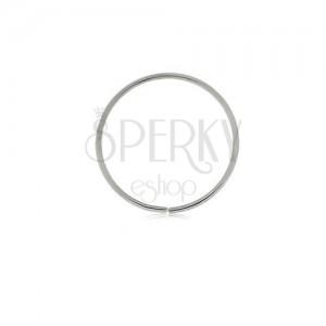 Piercing z bílého 9K zlata - lesklý tenký kroužek, hladký povrch