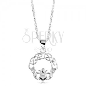Stříbrný náhrdelník 925, zapletené linie, ruce a srdce s korunou