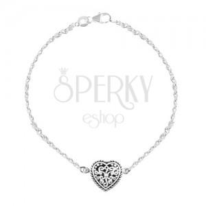 Stříbrný 925 náramek, srdce s černou glazurou a ornamenty