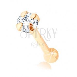 Piercing do nosu ze žlutého 9K zlata - rovný tvar, kulatý čirý zirkonek, 1,5 mm