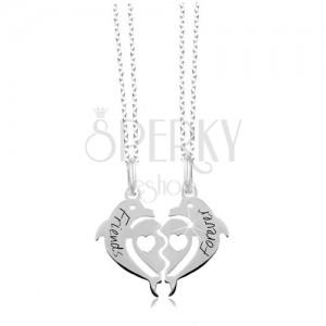 Náhrdelníky ze stříbra 925 - rozpůlené srdce ze dvou delfínů, Friends Forever