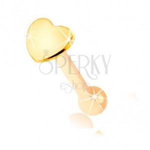 Piercing do nosu ve žlutém 9K zlatě - rovný tvar, ploché srdíčko
