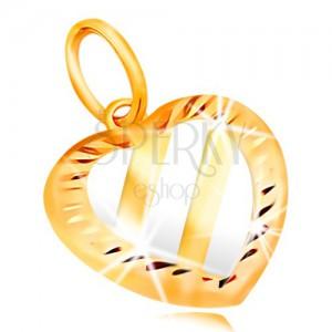 Zlatý přívěsek 14K - srdce se třemi šikmými pásy z bílého zlata, zářezy