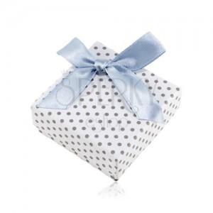 Krabička na náušnice nebo dva prsteny, bílý povrch, šedé tečky a lesklá mašle