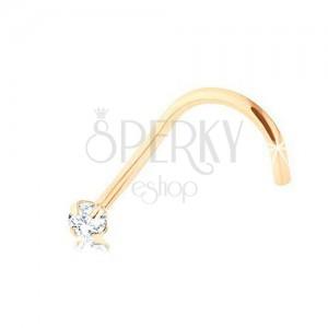 Briliantový zahnutý piercing do nosu, žluté 9K zlato, čirý diamant, 1,4 mm