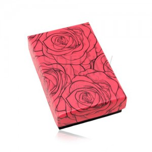 Dárková krabička na set nebo náhrdelník, červeno-černá kombinace, růže