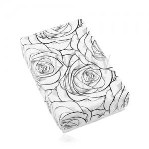 Černobílá krabička na set nebo náhrdelník, potisk s rozkvetlými růžemi