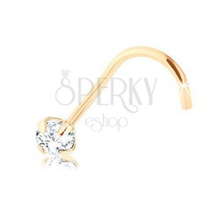 Briliantový piercing do nosu ze žlutého 9K zlata, čirý diamant, 2,5 mm