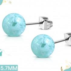 Náušnice z chirurgické oceli, světle modré kuličky s bílým motivem květů SP27.04