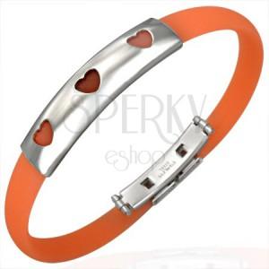 Gumový náramek 3 srdíčka - tmavo-oranžový