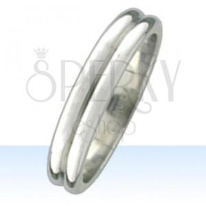 Ocelový prsten s dvěma oblými pruhy
