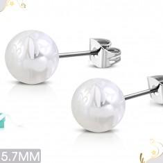 Náušnice z chirurgické oceli, perleťově bílé kuličky s bílým motivem květů SP31.16