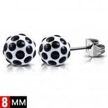 Náušnice z chirurgické oceli, bílé kuličky s černými puntíky