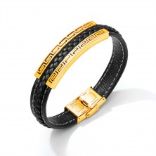 Černý koženkový náramek, ocelová známka zlaté barvy - řecký klíč