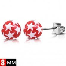 Náušnice z chirurgické oceli, červené kuličky s bílými hvězdami