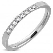 Prsten z oceli 316L, stříbrný odstín, třpytivá čirá zirkonová linie, 2 mm
