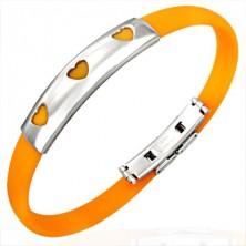 Gumový náramek 3 srdíčka - oranžový