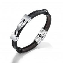Černý náramek z umělé kůže, ocelová známka stříbrné barvy - štír