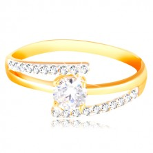 Prsten ze 14K zlata - rozdvojená ramena, vystouplý kulatý zirkon čiré barvy