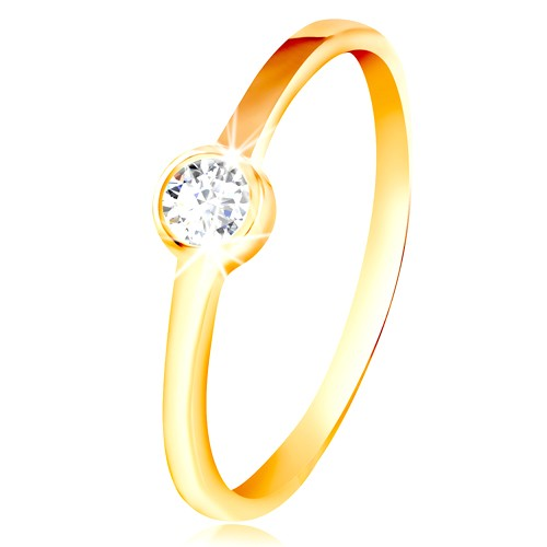 Prsten ze žlutého zlata 585 - kulatý čirý zirkon v lesklé objímce - Velikost: 59