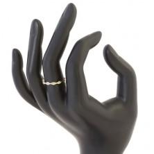 Prsten ze žlutého 14K zlata - lesklá zrnka se vsazenými zirkony čiré barvy