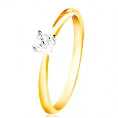 Zlatý 14K prsten - tenká ramena, čirý zirkon v kotlíku z bílého zlata GG213.16/24
