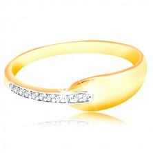 Prsten ze zlata 585 - lesklá oblá slza a třpytivý pás z čirých zirkonů