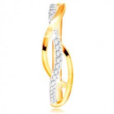 Prsten v kombinovaném 14K zlatě - propletené hladké a zirkonové linie