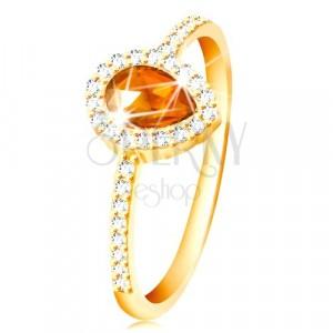 Prsten ze žlutého 14K zlata, kapka oranžové barvy s čirým zirkonovým lemem
