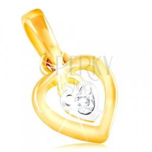 Přívěsek ze 14K zlata - kontura srdce a malé srdíčko s čirým zirkonem uprostřed
