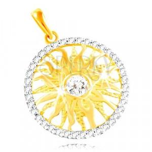 Přívěsek ze zlata 585 - blýskavé slnko v kroužku z čirých zirkonů