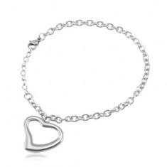 Ocelový náramek stříbrné barvy, oválná očka, kontura srdce
