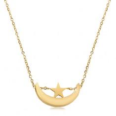 Náhrdelník ve zlatém odstínu, chirurgická ocel, lesklý srpek měsíce a hvězdička