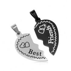 Ocelové přívěsky Best Friends - rozlomené srdce se srdíčky, dvoubarevné