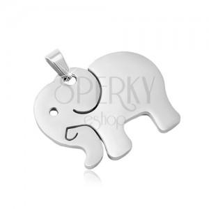 Přívěsek z chirurgické oceli ve stříbrném odstínu, matný slon s výřezy
