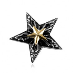 Ocelový přívěsek, velká černá hvězda s malou hvězdou zlaté barvy uprostřed