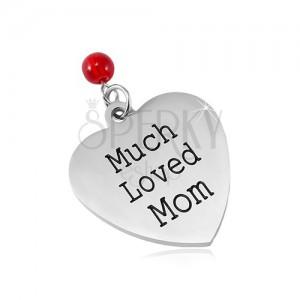 Přívěsek z chirurgické oceli, matné srdce s nápisem a červenou kuličkou