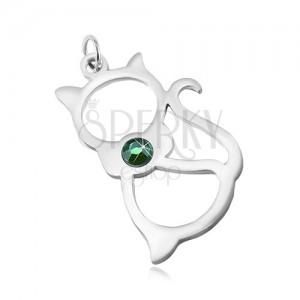 Přívěsek z chirurgické oceli ve stříbrném odstínu, obrys kočky, zelený zirkon