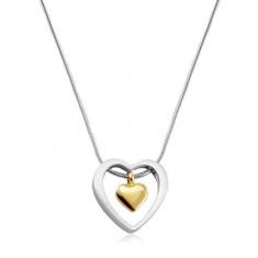 Náhrdelník z chirurgické oceli, srdíčko zlaté barvy v obrysu srdce